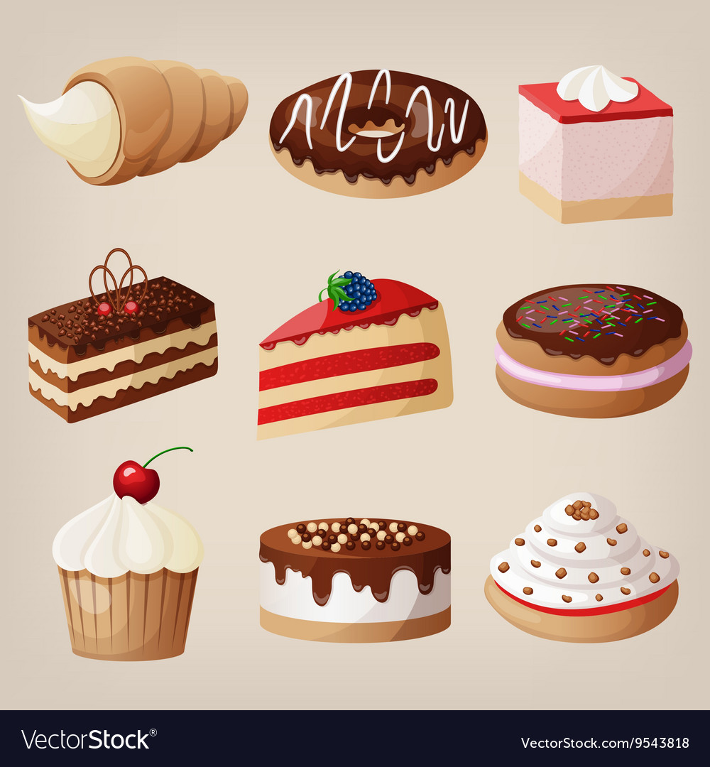 Set of cakes cookies donuts pies