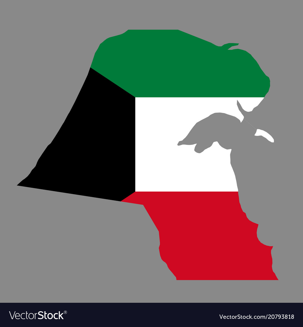 Silhouette country borders map of kuwait on