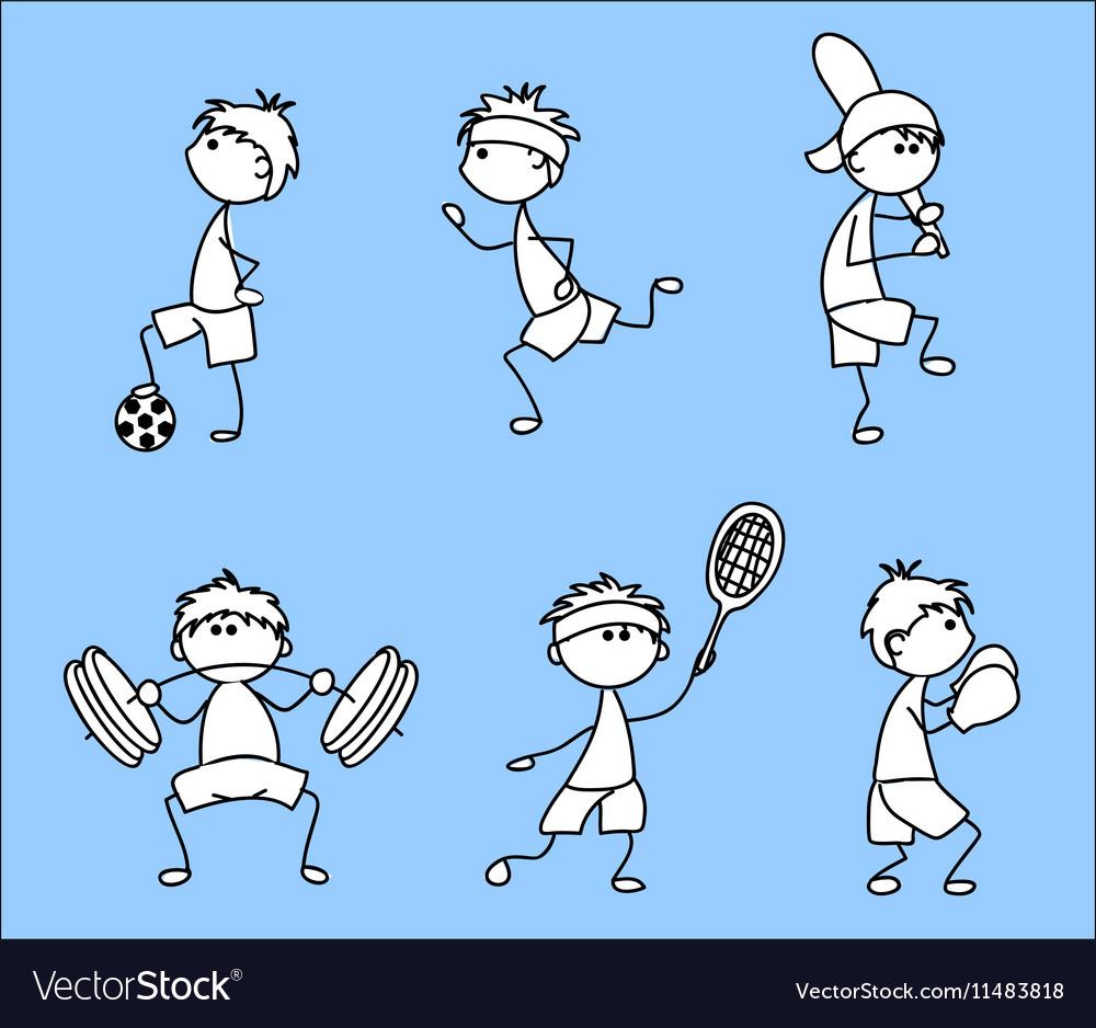 Stick Figure Sporting Icon Set