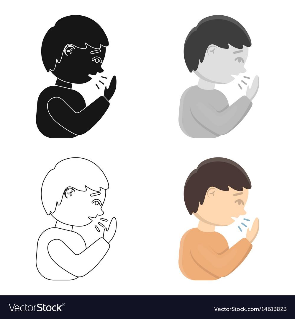 cough icon cartoon single sick icon from the big vector image vectorstock