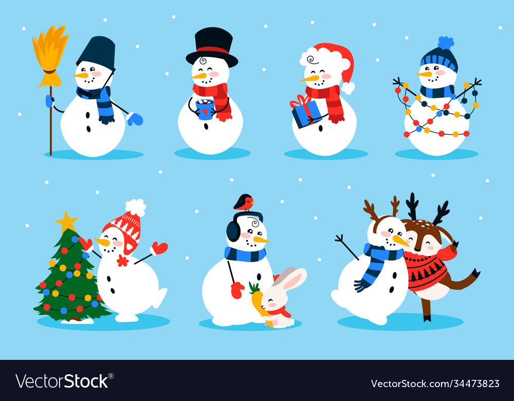 Cute snowman cartoon winter christmas character vector