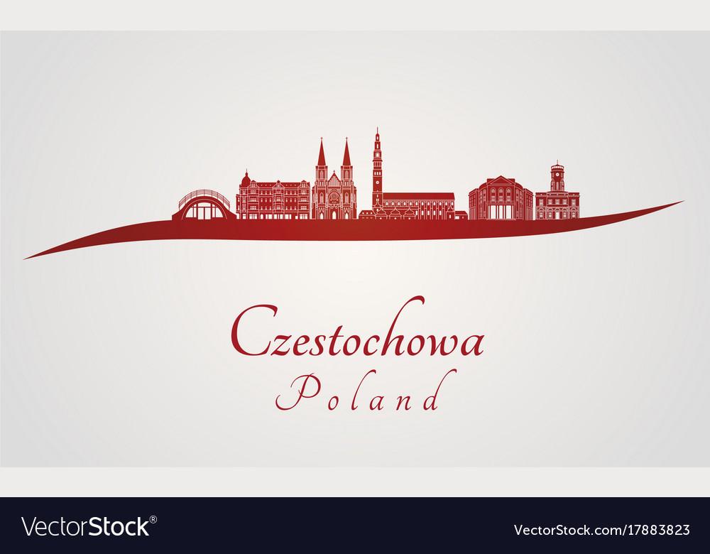 Czestochowa skyline in red