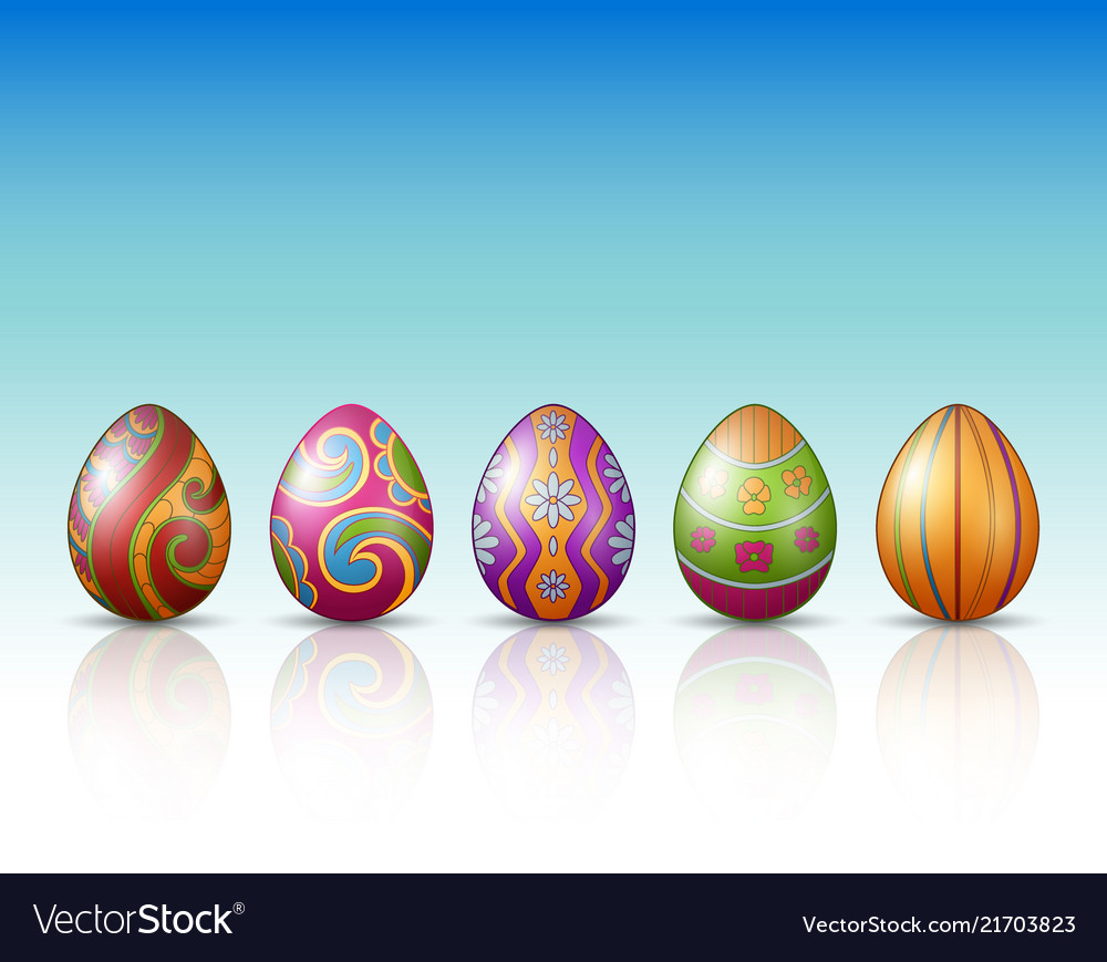 Decorated easter eggs with green grass background