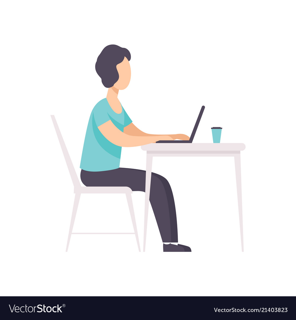 Freelancer working at the table with laptop