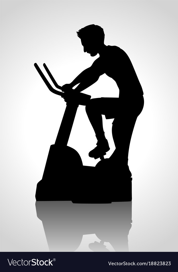 Man riding exercise bike vector image