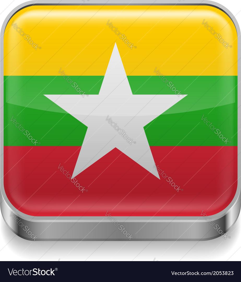 Metal icon of Myanmar vector image