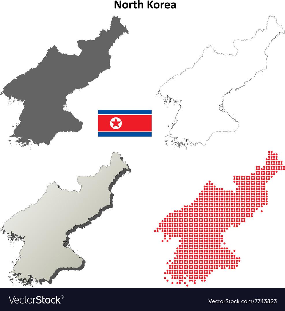 North Korea Outline Map Set Royalty Free Vector Image