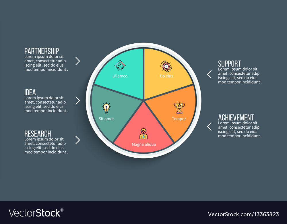 pie chart presentation template with 5 royalty free vector, Achievement Presentation Template, Presentation templates