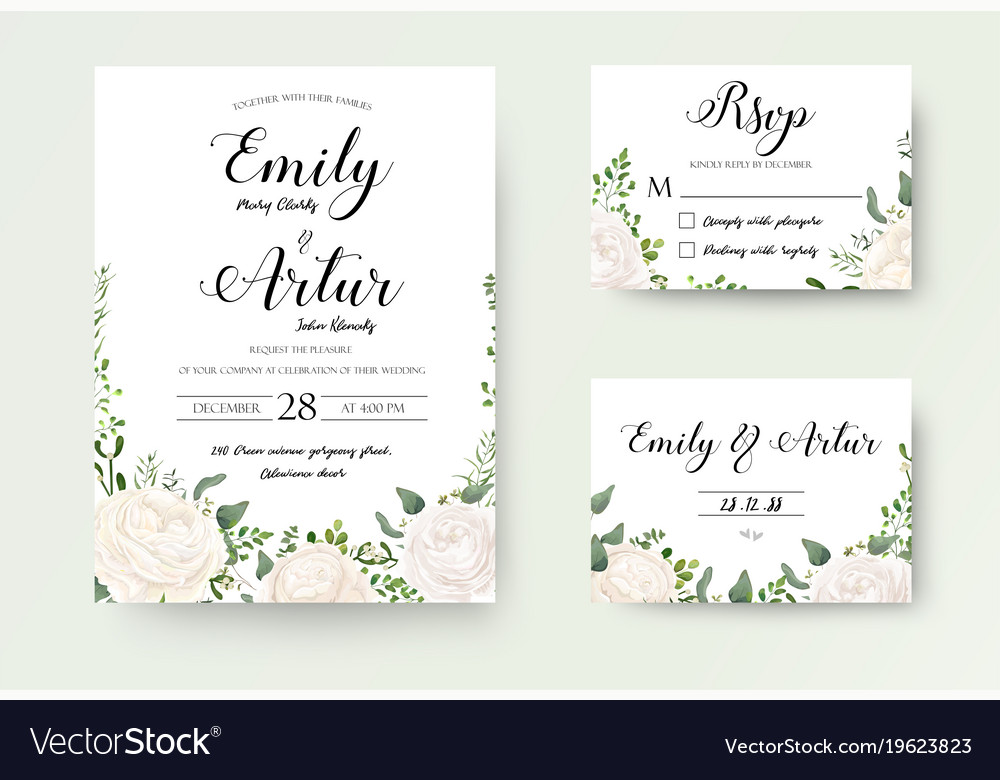 wedding invitation floral invite rsvp cute card vector image