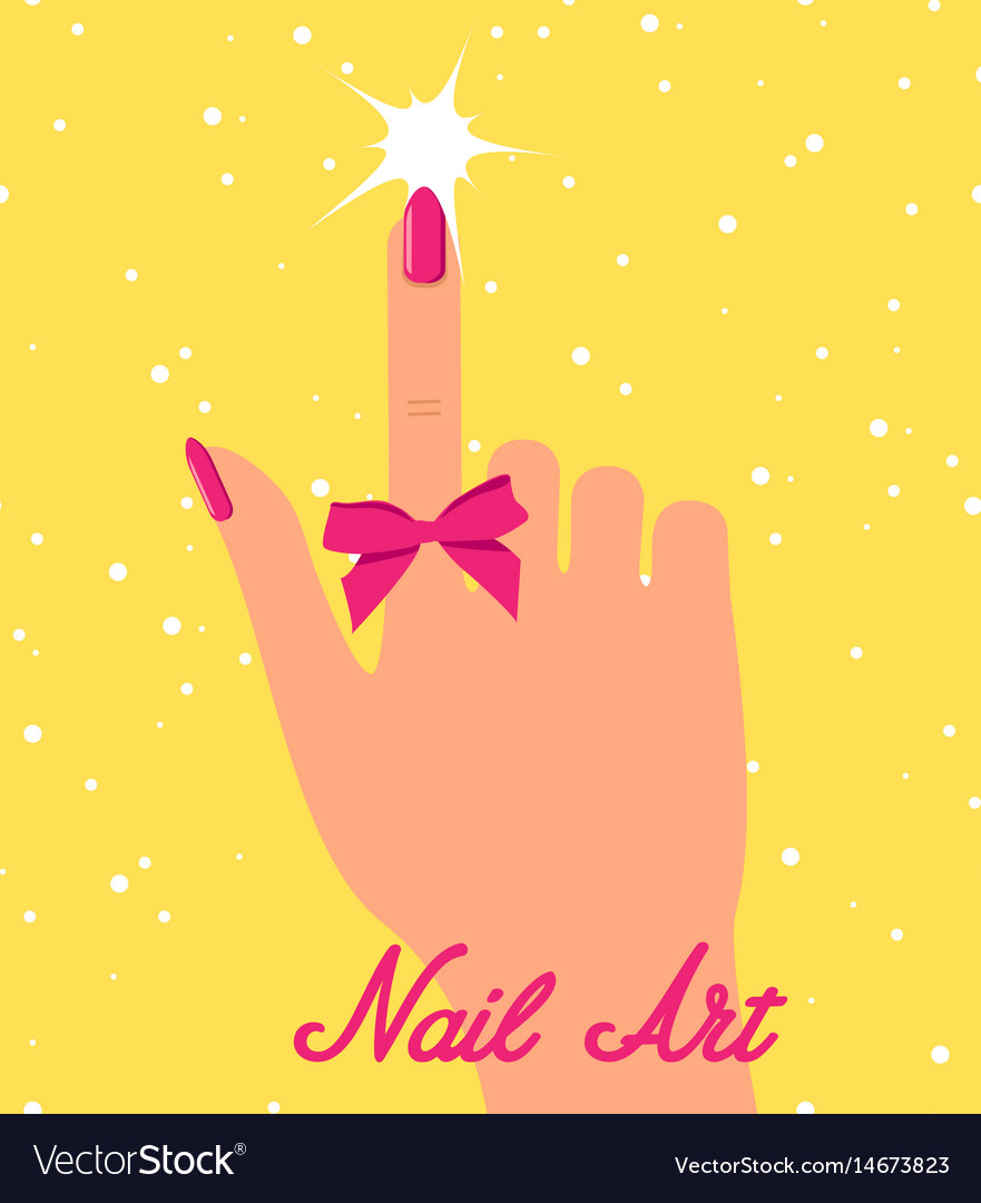 Woman hand with pink fingernails and pink bow on