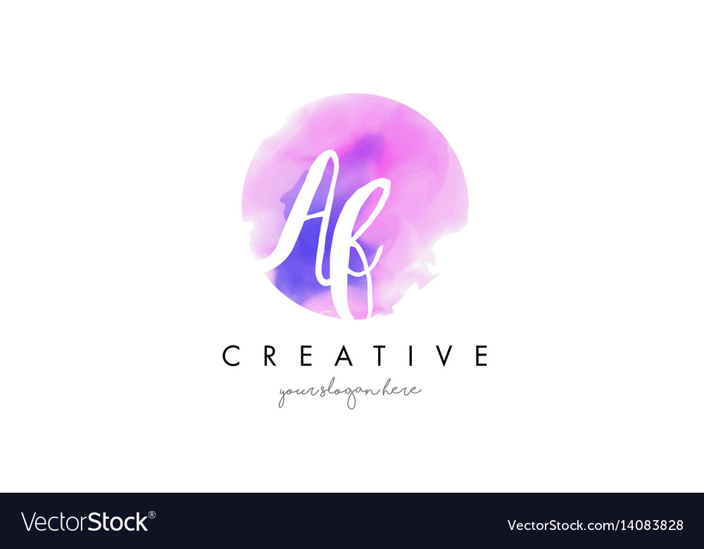 Af watercolor letter logo design with purple