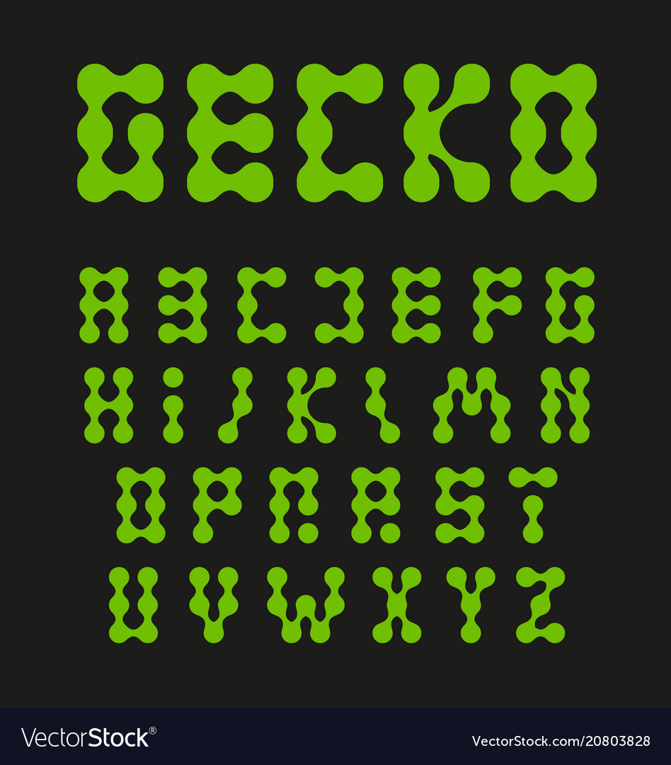 Alphabet letters connected circles green color