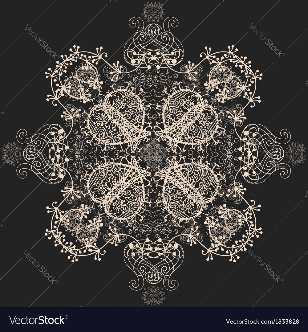 Blue Floral Seamless Pattern on Gray