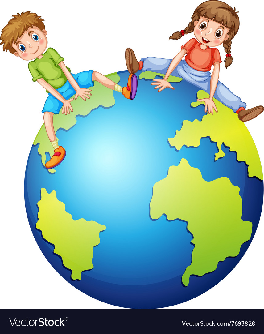 Boy and girl sitting on the big world vector image