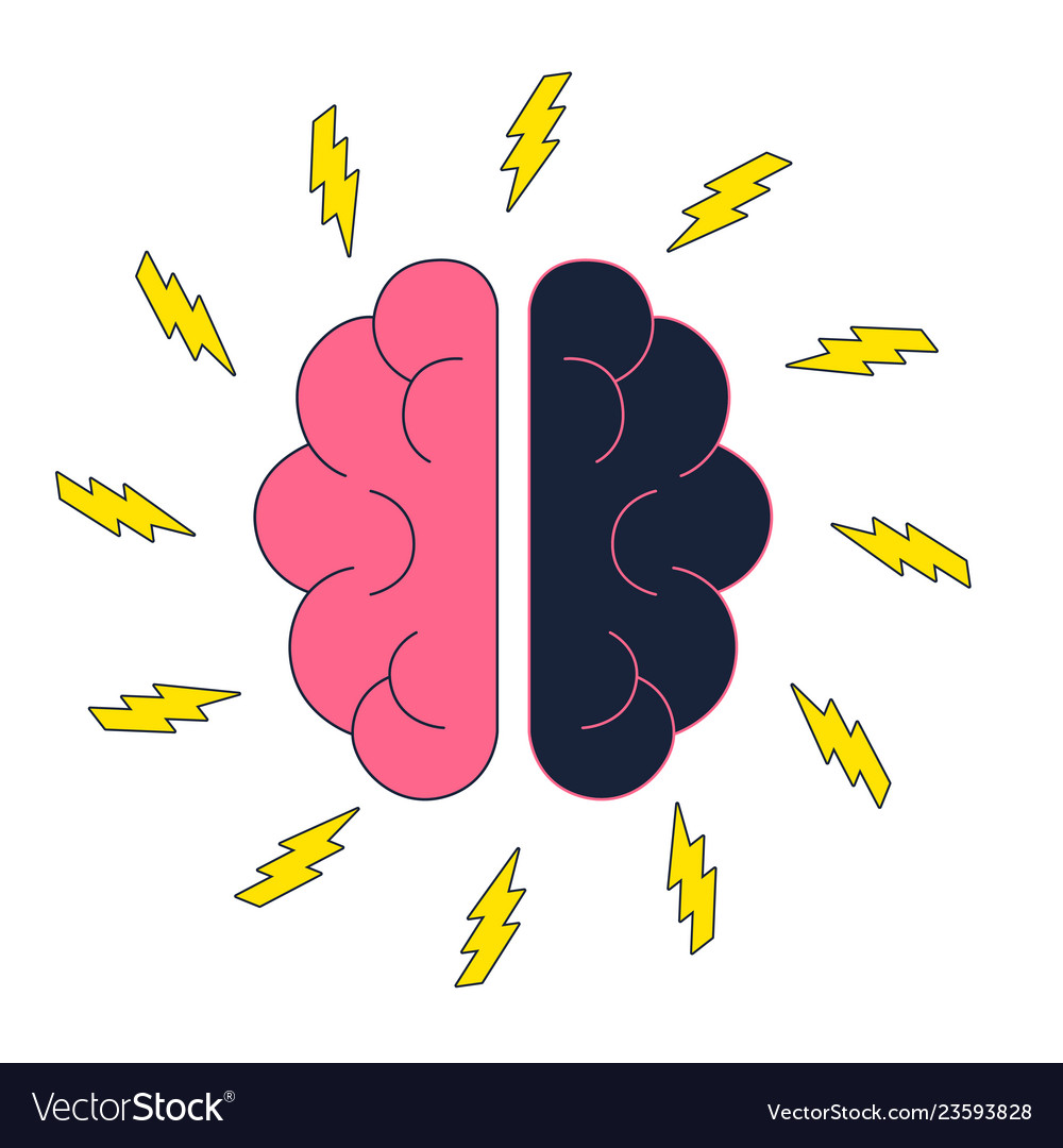 Brain with electric thunderbolt flash brainstorm
