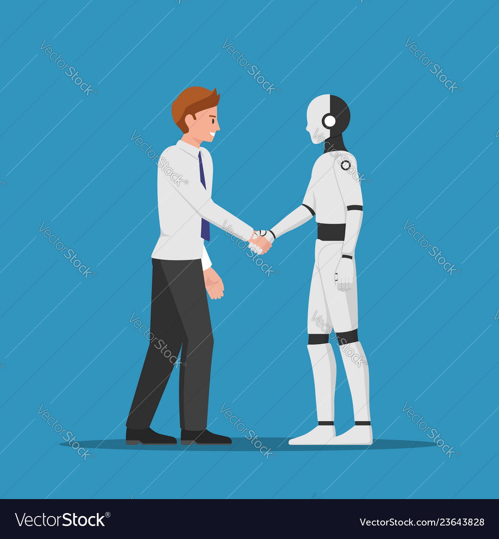 Businessman shaking hand with ai robot