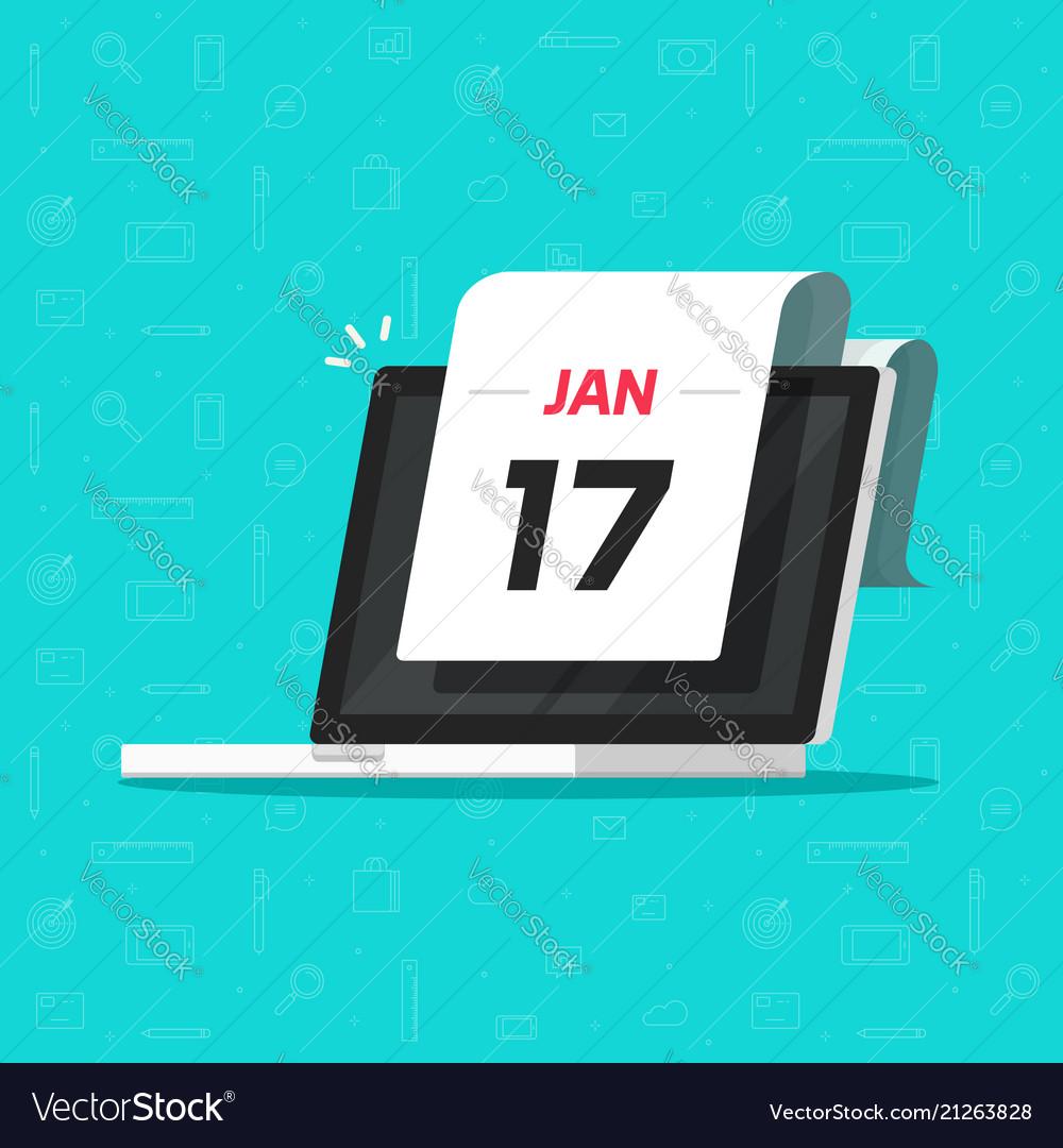 Calendar date on laptop computer screen