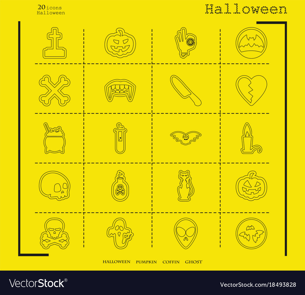 Collection of 20 halloween icons in thin line