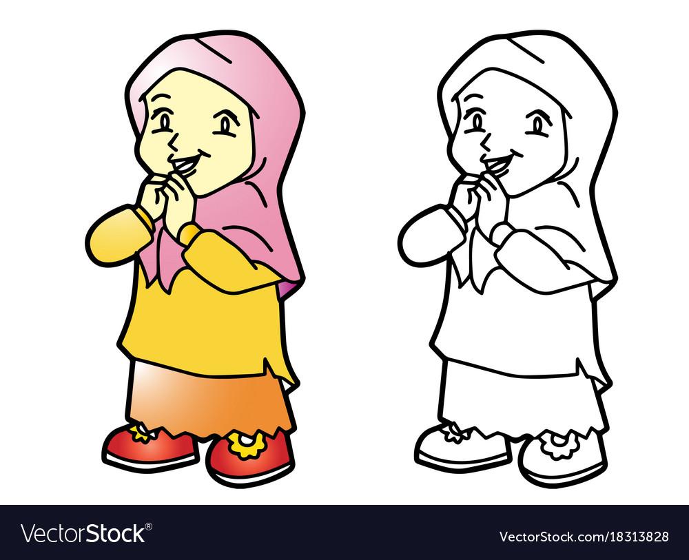 Coloring melayu muslim girl