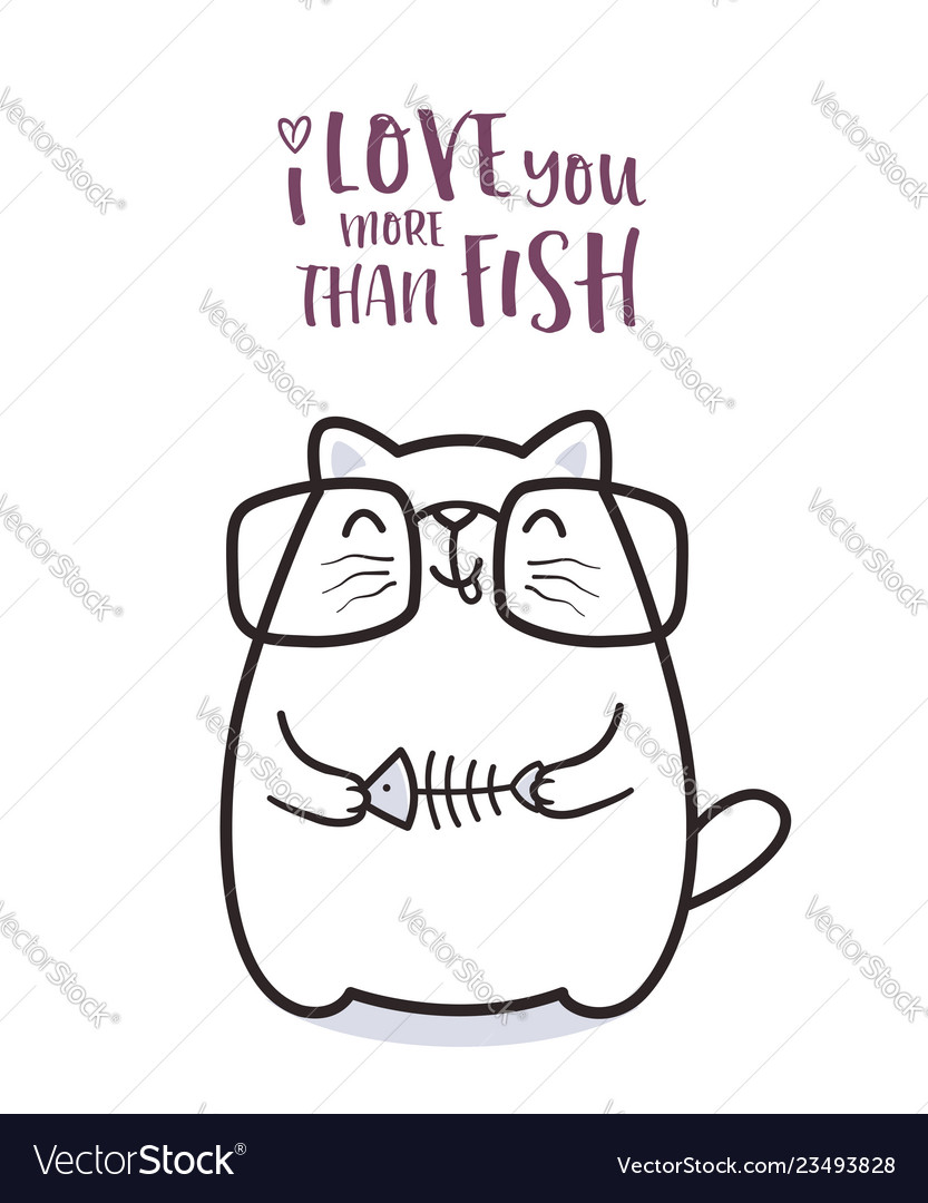 Cute cat with a fish for greeting card design