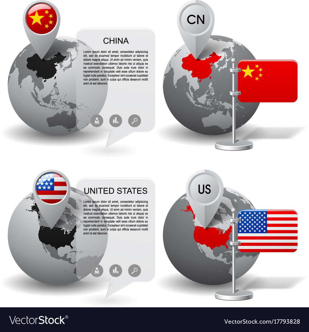 Globes with map marker and state flags of china vector image