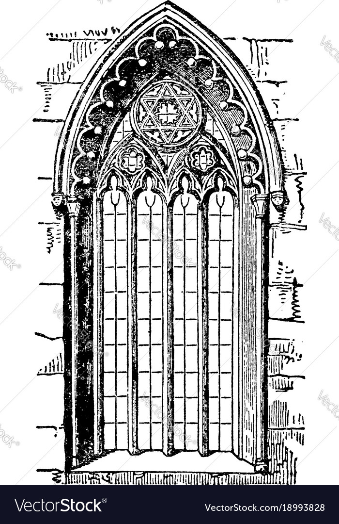 Gothic style window or romanesque architecture