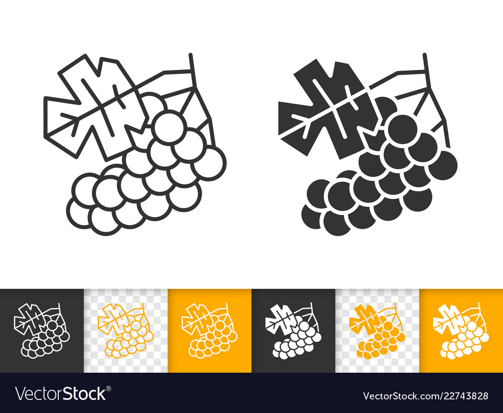 Grape simple black line fruit wine icon