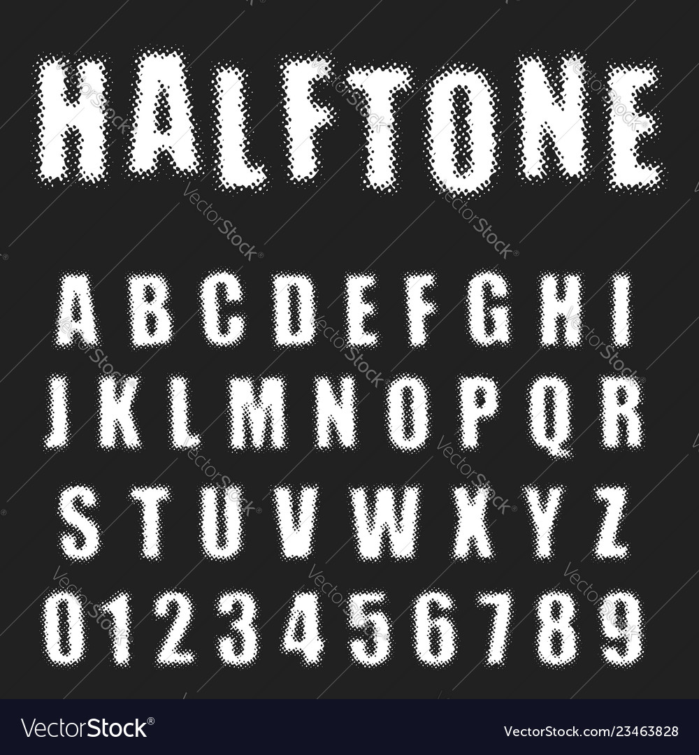 Halftone alphabet font template letters and