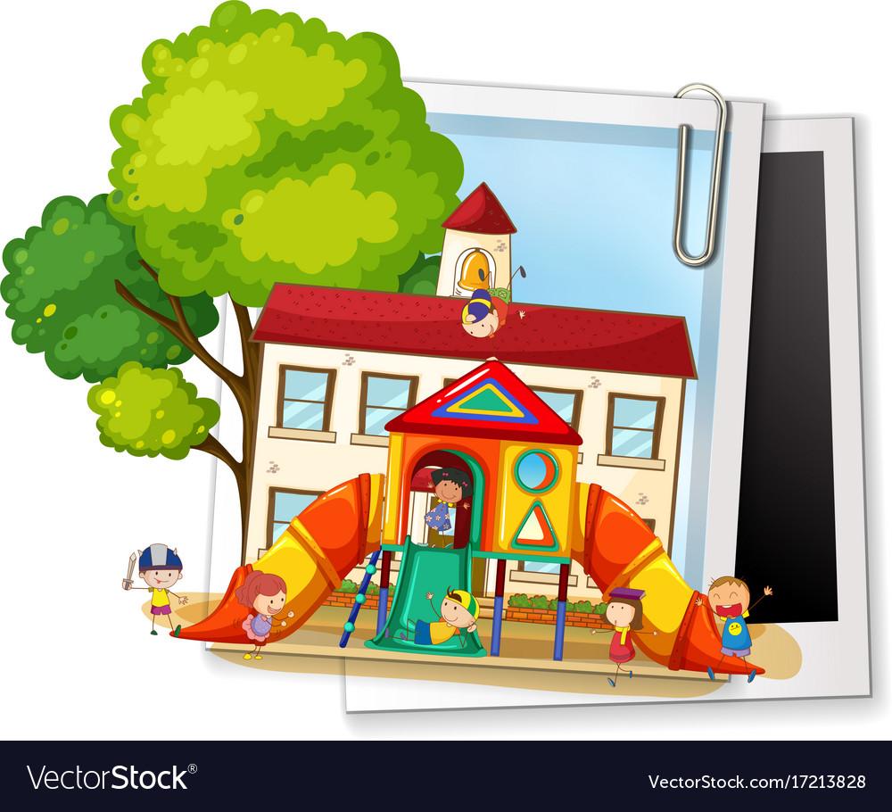 Many children playing in playground