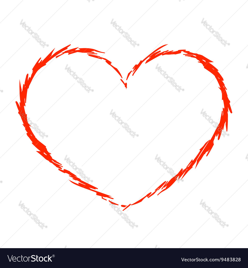 Red heart icon grunge 5 vector image