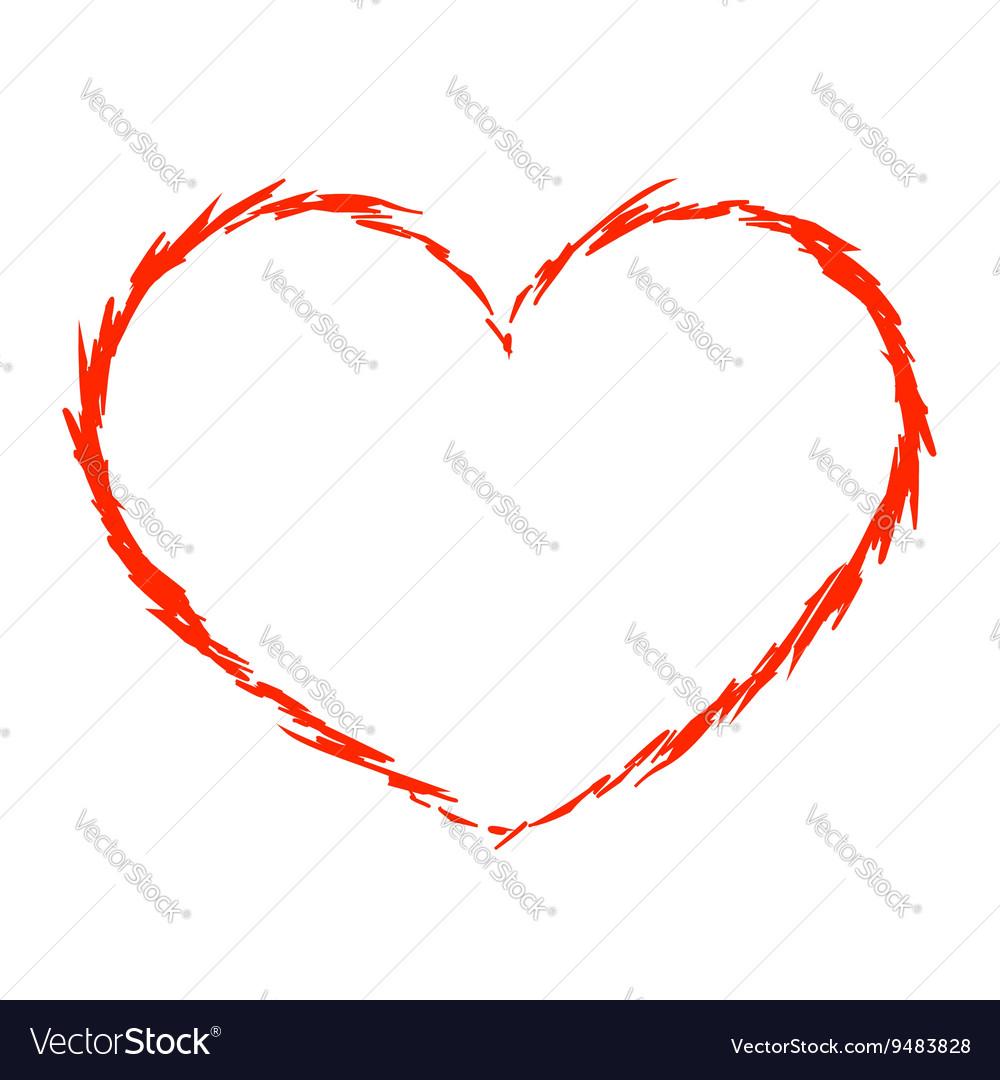 Red heart icon grunge 5