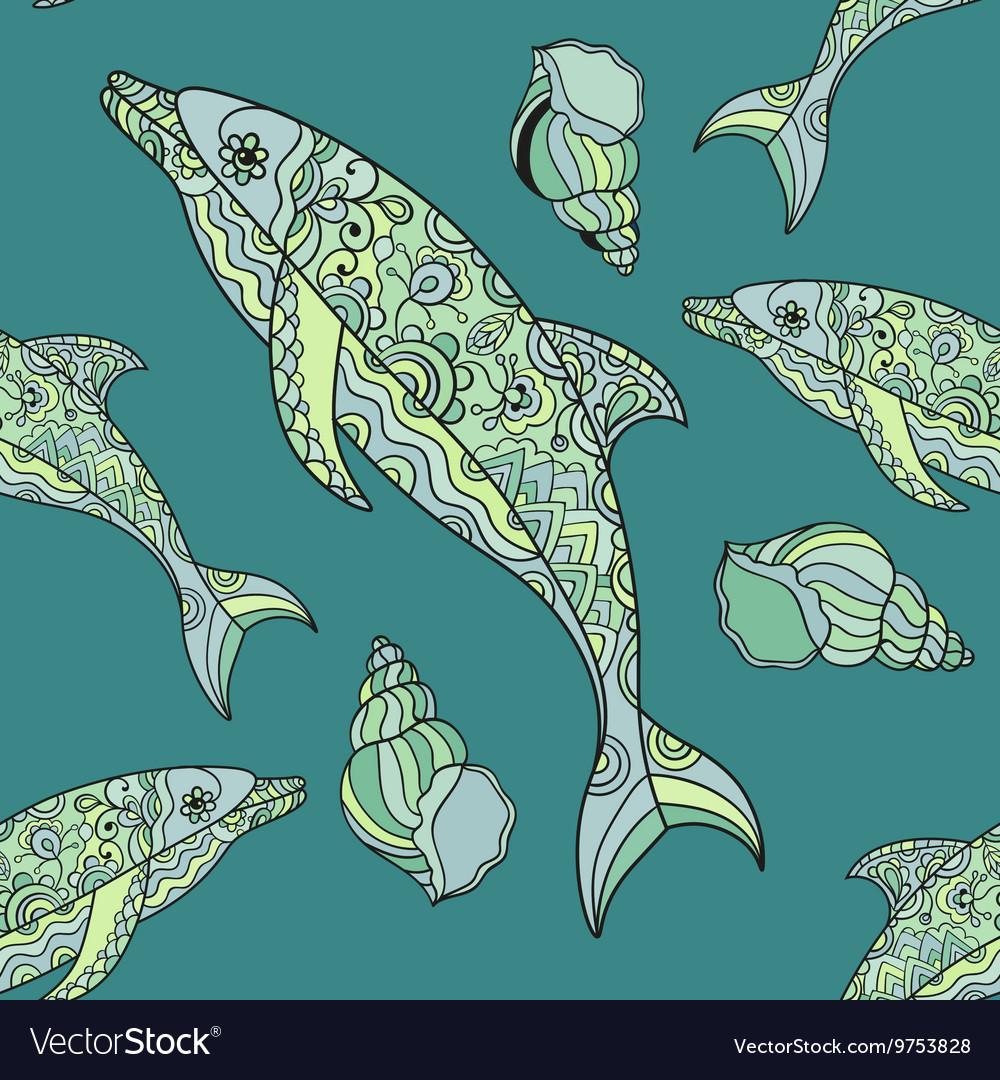 Seamless dolphin pattern