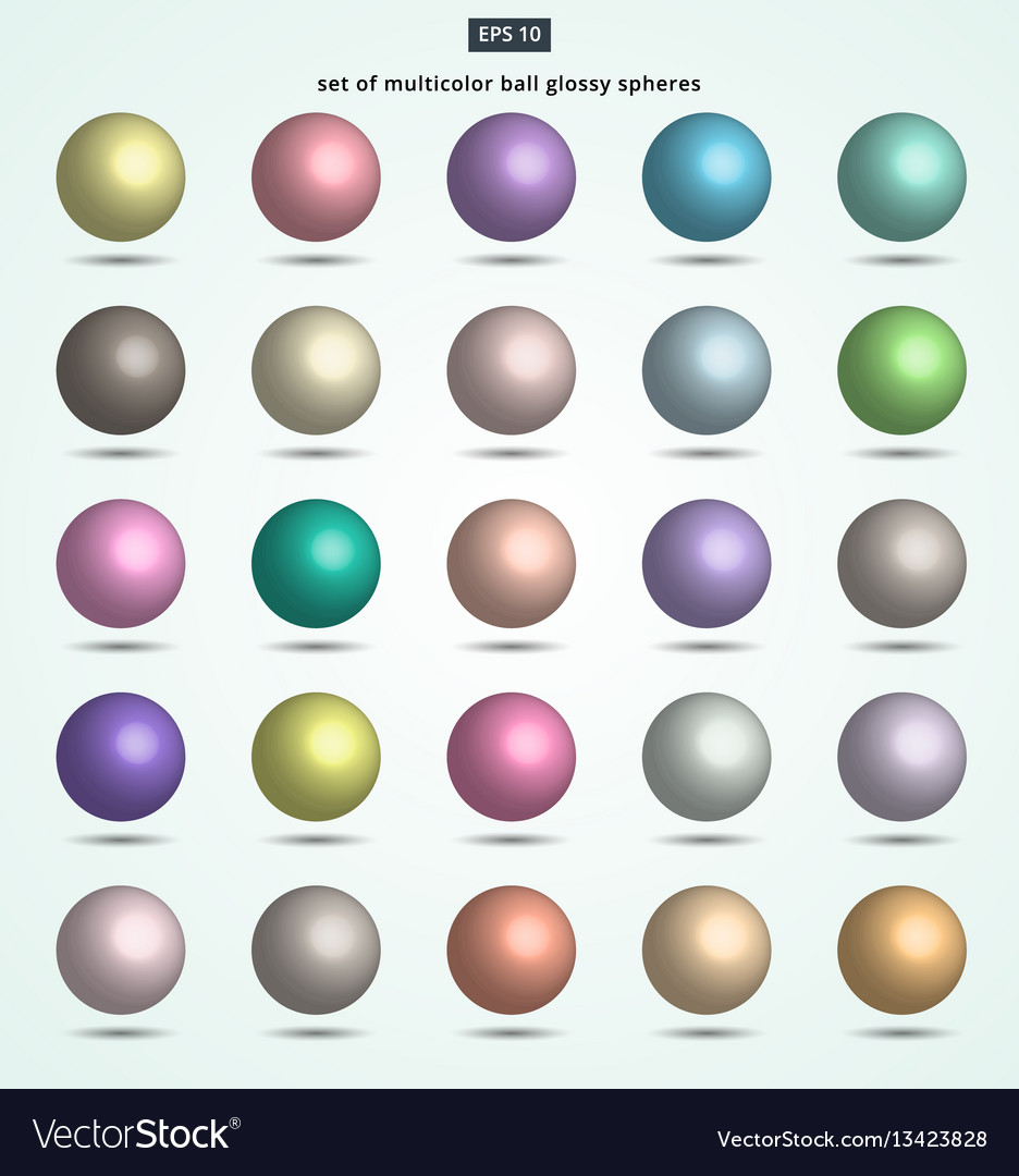 Set of pastel color ball glossy spheres