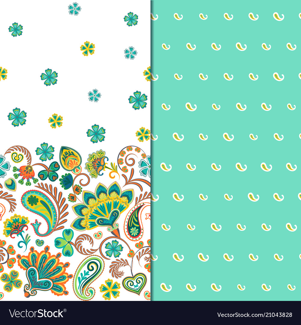 Set of two horizontal seamless floral pattern with