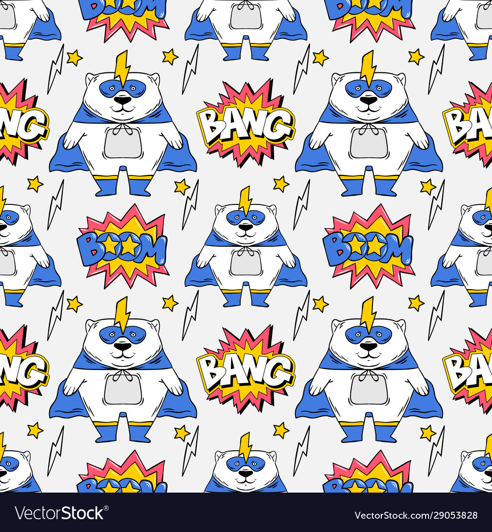 Superhero seamless pattern print design