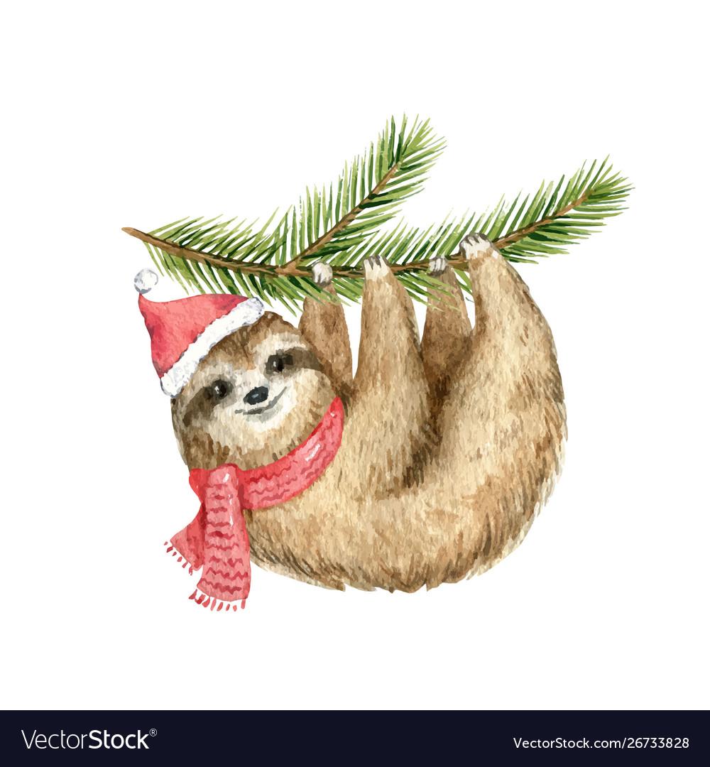 Watercolor christmas card cute sloth
