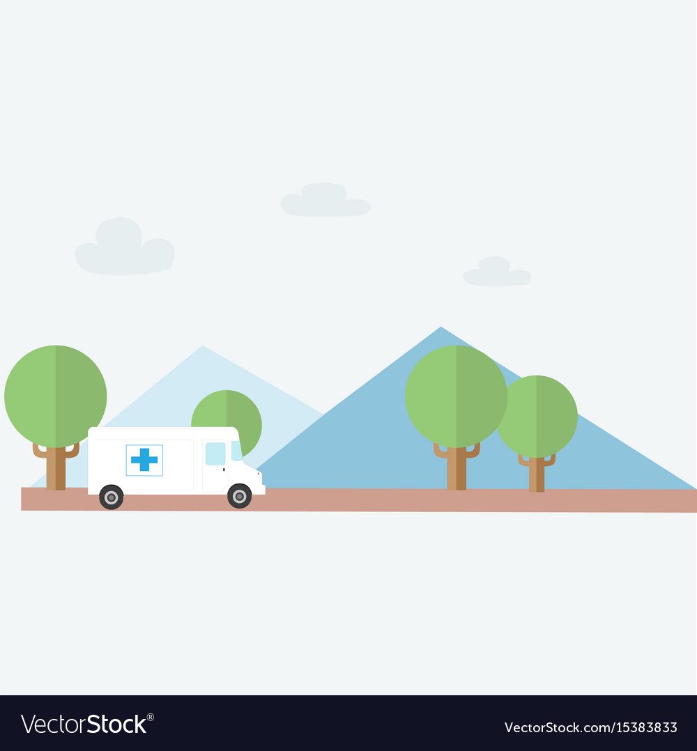 Ambulance rescue to country with nature background vector image