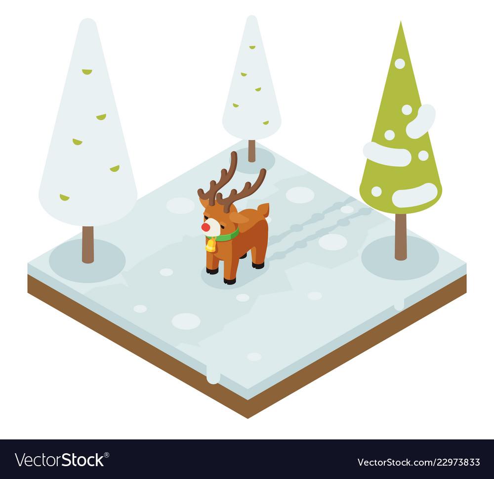 Cartoon deer walking winter wood forest isometric