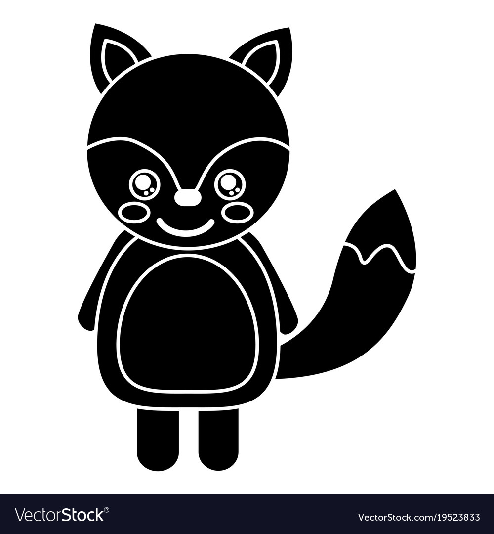 Cute fox animal standing cartoon wildlife