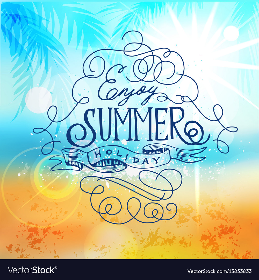 Couple Enjoying Their Summer Holidays Stock Photo: Enjoy Summer Holiday Beach Poster Abstract Blur Vector Image