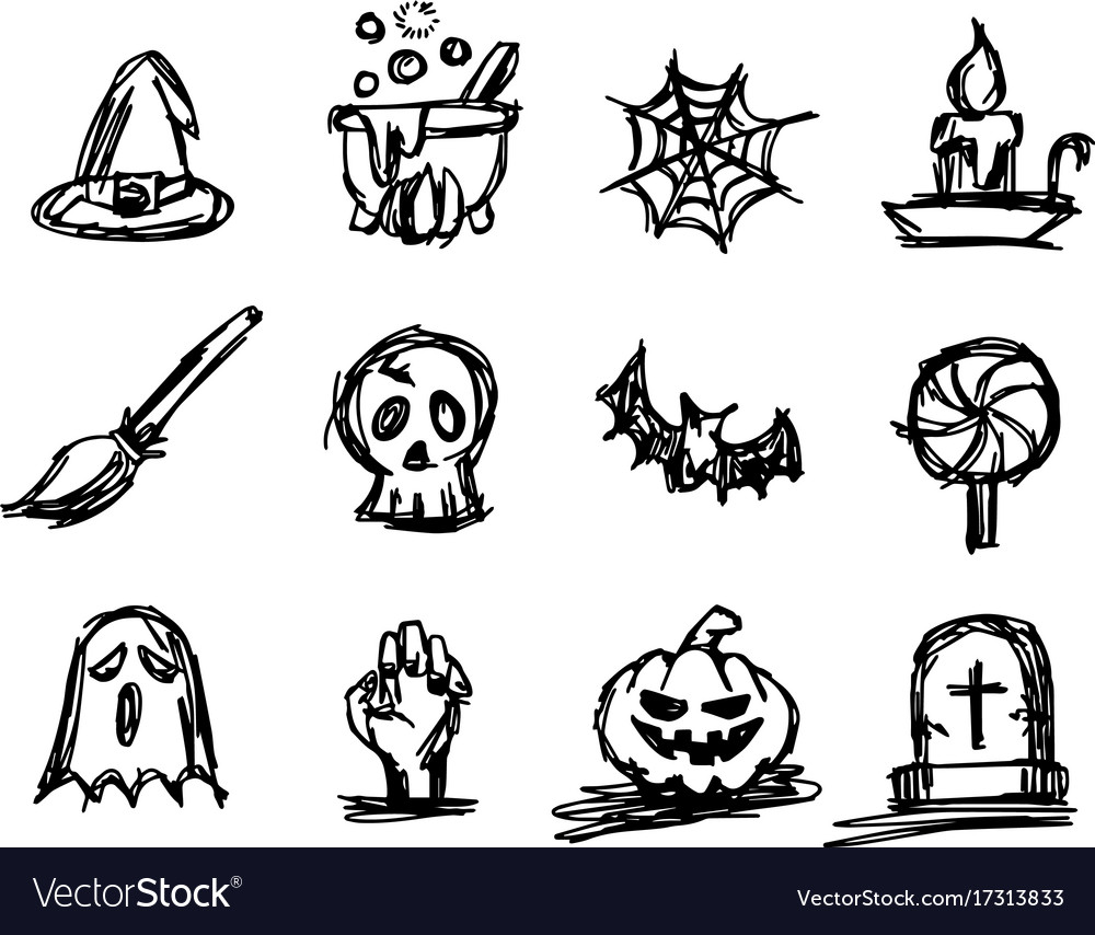 Halloween Icon Set Sketch Royalty Free Vector Image