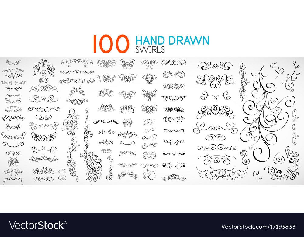 Hand drawn swirls and curves design vector image