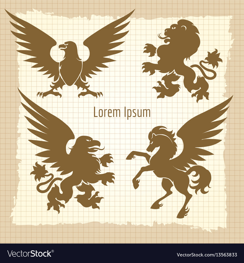 Heraldic silhouettes vintage poster