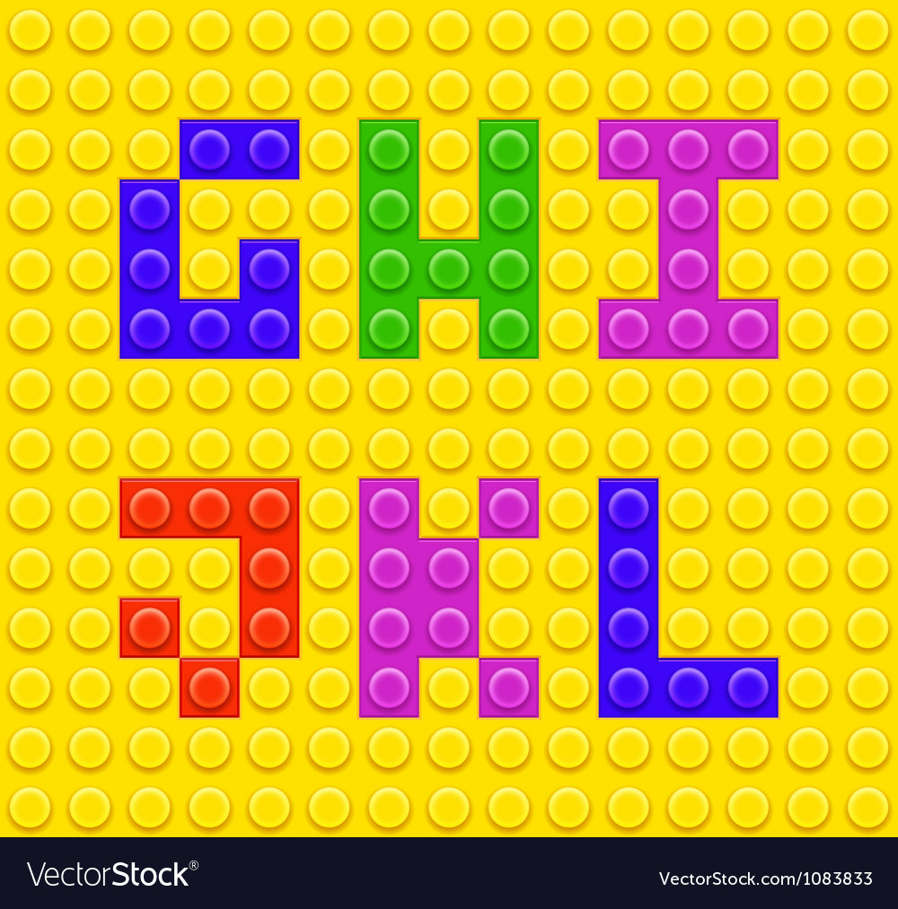 Lego blocks alphabet 2 vector image