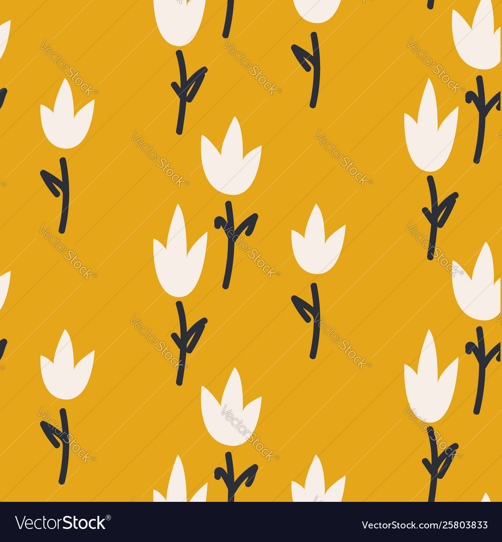 Mustard Yellow Tulip Flower Seamless Pattern For Vector Image
