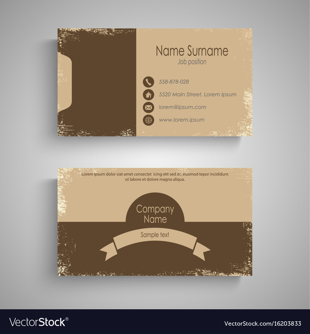 Retro business card in brown design template vector image reheart Gallery