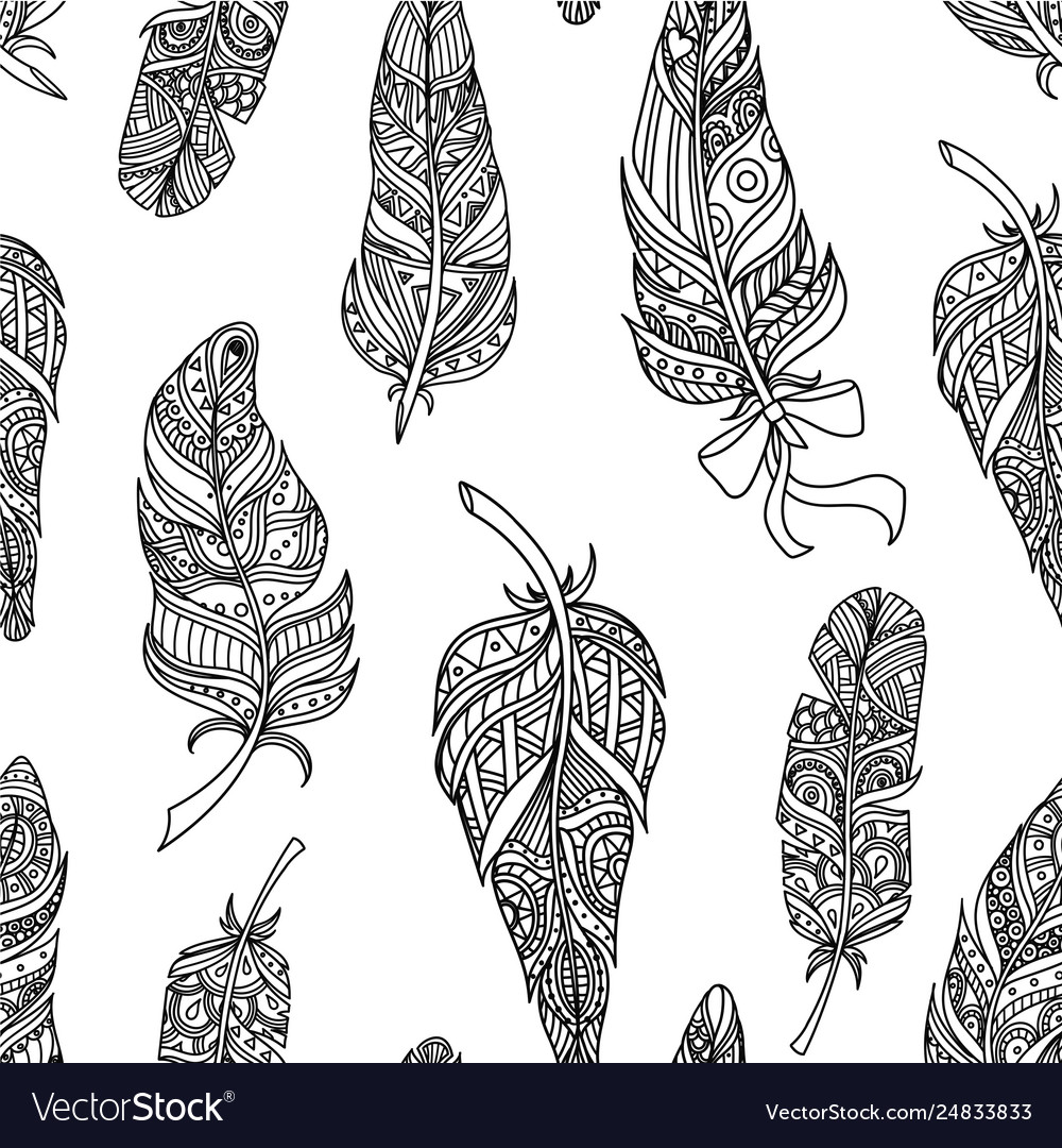 Seamless pattern with stylized feathers design