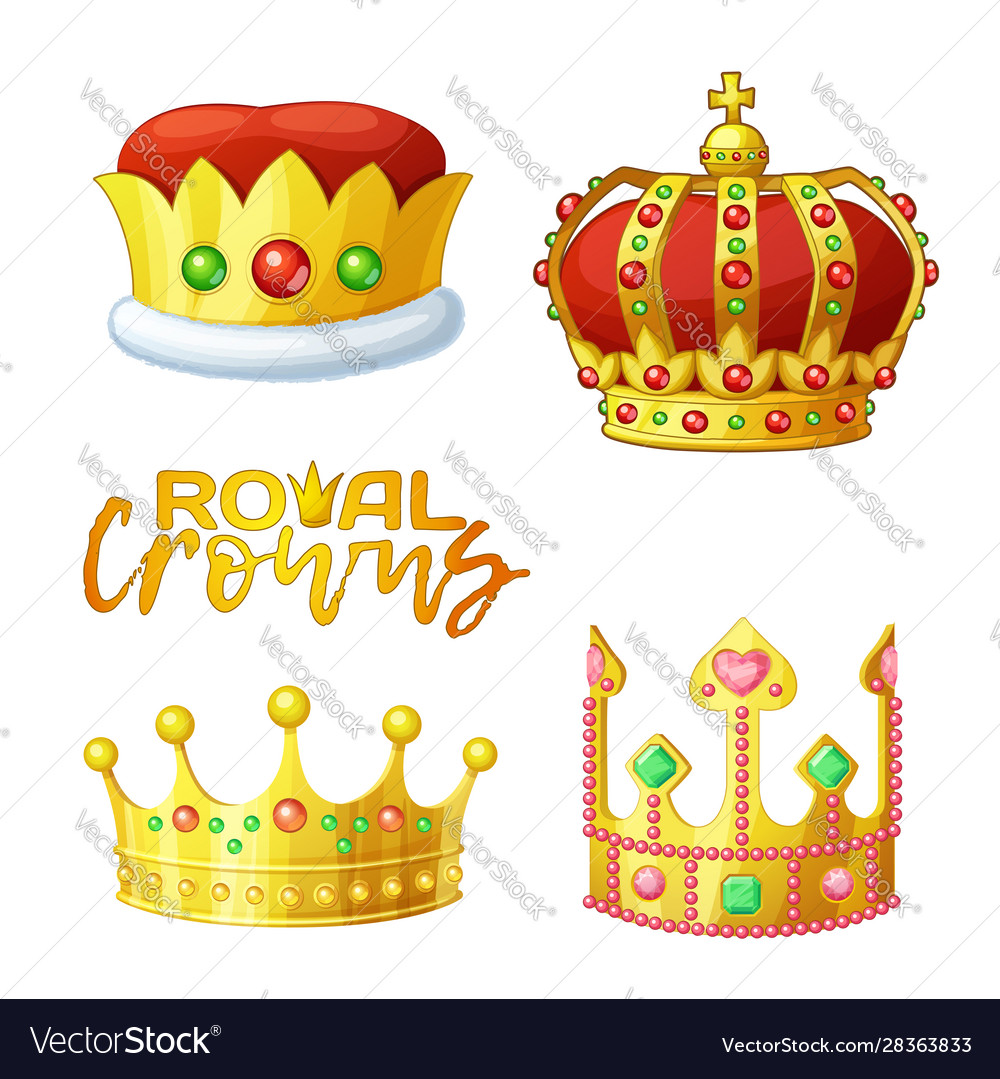 Set golden royal crowns in cartoon style for