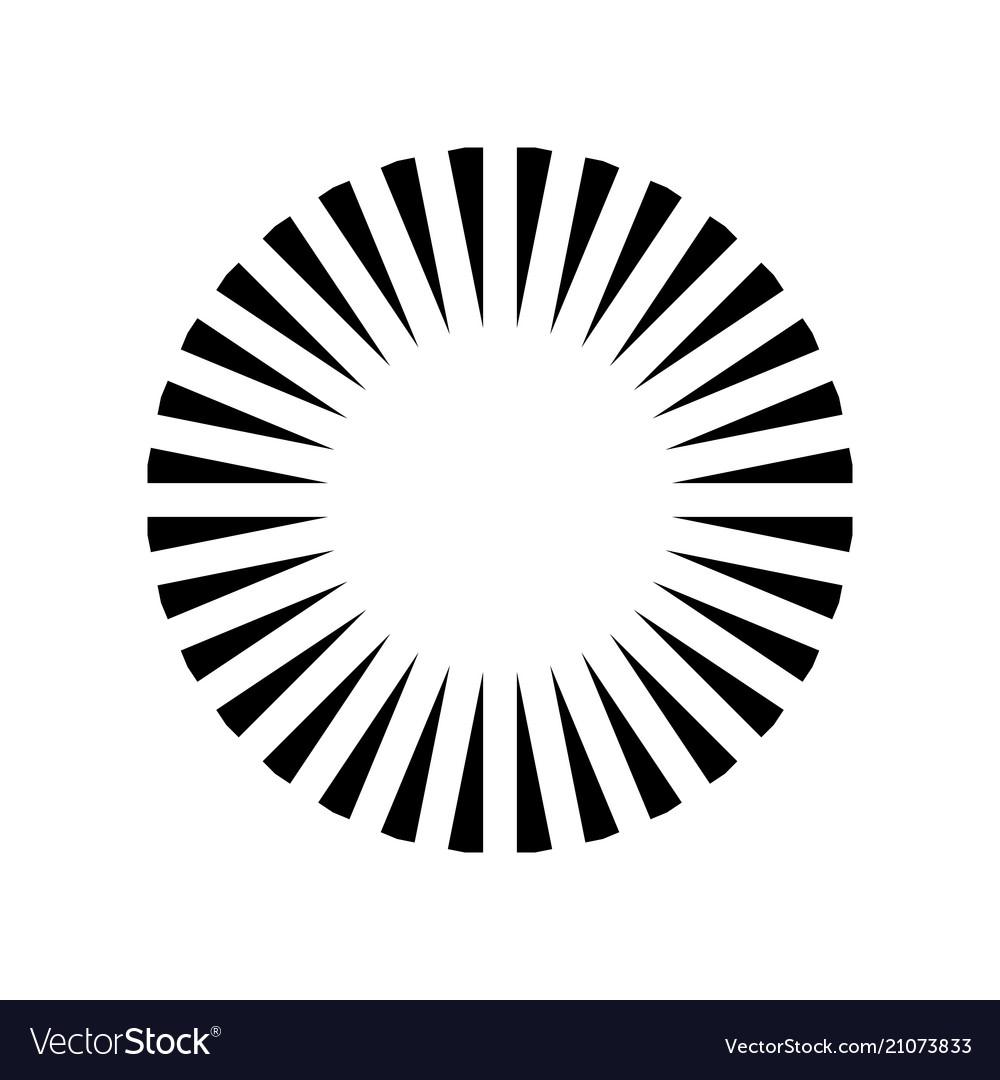 Simple circle sunshine symbol radial burst black