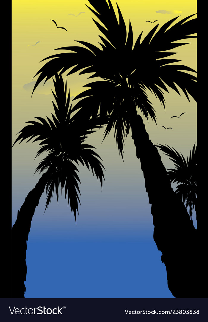 Abstract landscape of palm tree silhouette